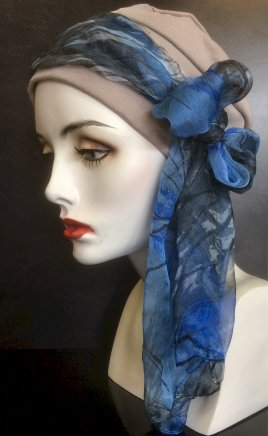 Cotton turban in taupe with blue silk scarf